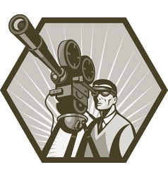 Vintage movie television film camera director vector image