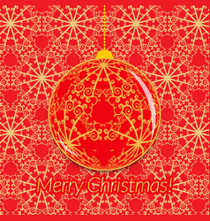 christmas greeting card with transparent ball on vector image vector image