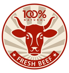 Label with the head of a cow vector