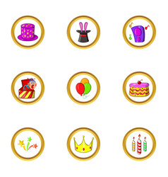 Music party icon set cartoon style vector