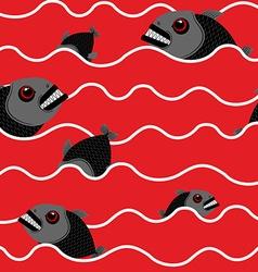 Piranha in ocean Bloody water with marine predator vector image vector image