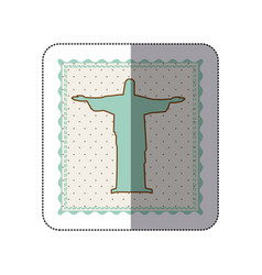 sticker frame with silhouette of christ redeemer vector image vector image