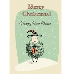 Greeting card sheep with gift vector image vector image