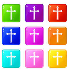 Holy cross icons 9 set vector
