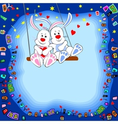 Rabbits on a swing vector image