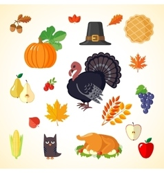 Set of Thanksgiving icons in flat style vector image