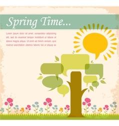 spring time speech bubble meadow vector image