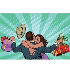 African american couple happiness from gifts vector
