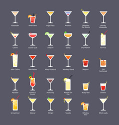 Alcoholic cocktails iba official cocktails vector
