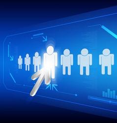arrow click human icon vector image