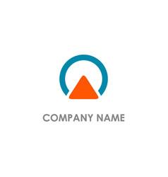 arrow up triangle round company logo vector image