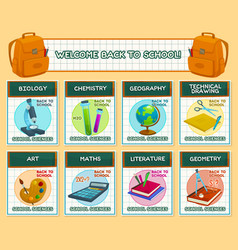 Back to school lesson science posters vector