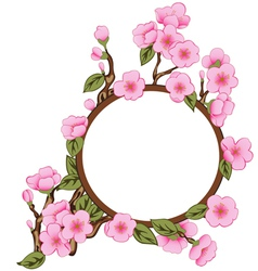 Background with sakura with frame vector image