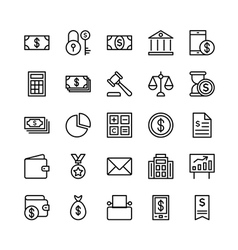 Banking and Finance Outline Icons 1 vector image