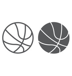 basketball ball line and glyph icon sport and vector image