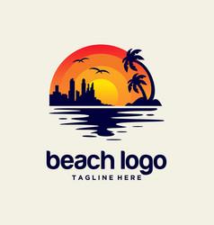 beach sunset logo design vector image