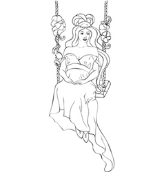 Beautiful girl on swing in art nouveau style vector
