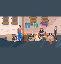 Beggars people group relaxing laying down and vector