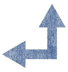 bifurcation arrow left up fabric textured icon vector image