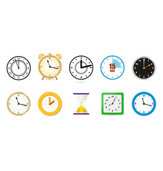 big set different color clock icons alarm vector image