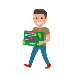 boy with green box shopping time vector image