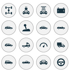 Car icons set collection of lorry chronometer vector