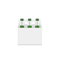 Carrier packaging box mockup with green glass beer vector