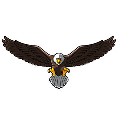 Cartoon bald eagle with spreaded wings vector
