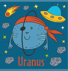 Cartoon funny uranus vector