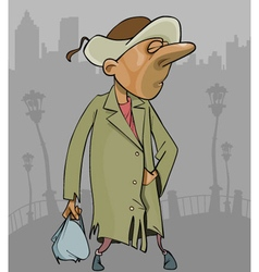 cartoon homeless man in a tattered coat with bag vector image