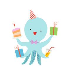 Cartoon octopus with presents vector