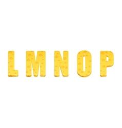 Cheese alphabet set Letters L-P vector image
