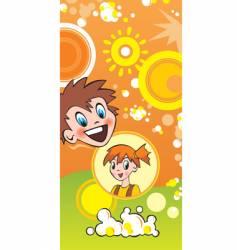 children and popcorn vector image