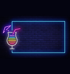 cocktail neon sign design template night vector image
