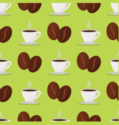 coffee cups beans drink seamless pattern vector image