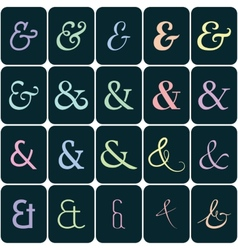 Collection of ampersands on colors for lettes and vector