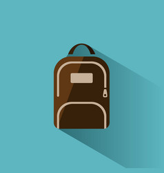 color backpack icon with shadow on blue background vector image