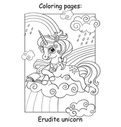 Coloring book page cute unicorn reading a book vector