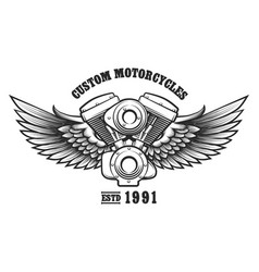 Custom motorcycle workshop emblem vector