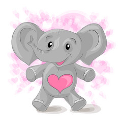 cute cartoon elephant with hearts vector image
