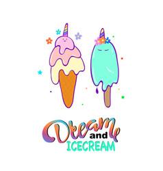 cute ice cream slogan vector image