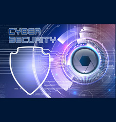 Cyber eye with shield vector
