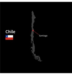 Detailed map of chile and capital city santiago vector