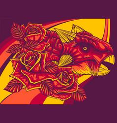 Dinosaurus ankylosaurus head with roses vector