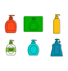 dispenser icon set color outline style vector image