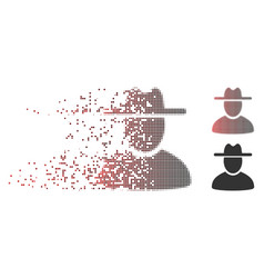 dissolved pixel halftone hat man icon vector image