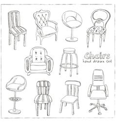 Doodle Set of chairs vector image