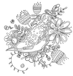 Drawing of the bird coloring book vector