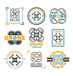 drone or quadrocopter set colored emblems vector image