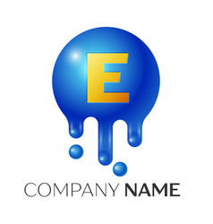 e letter splash logo blue dots and bubbles letter vector image